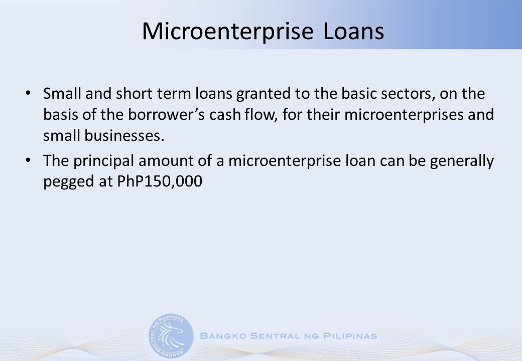 Housing Microfinance Loans Loans granted for home improvements, house construction, house and/or lot acquisition using microfinance principles in accordance with BSP regulations Maximum principal amount generally pegged at PhP300,000 Payment terms up to 15 years Acceptable valuation in cases of usufruct, leases, etc.
