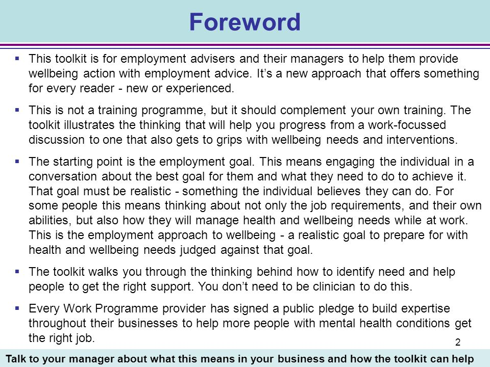 3 Section 1: Working for wellbeing 6What are the aims of this Toolkit.