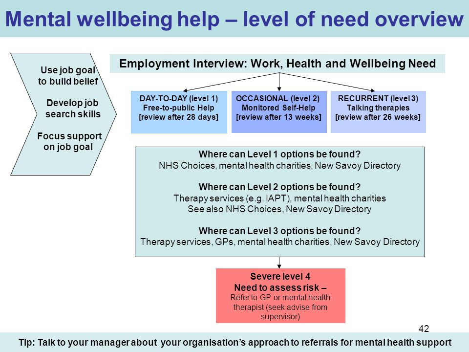 42 Mental wellbeing help – level of need overview Employment Interview: Work, Health and Wellbeing Need Tip: Talk to your manager about your organisat