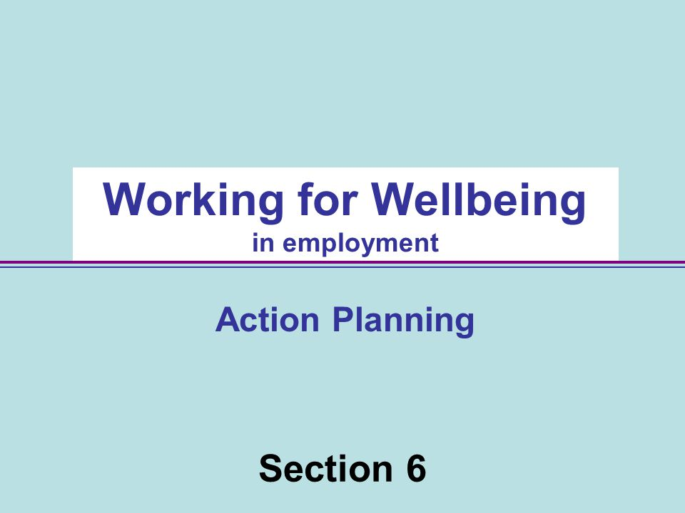 46 Section 6 Working for Wellbeing in employment Action Planning