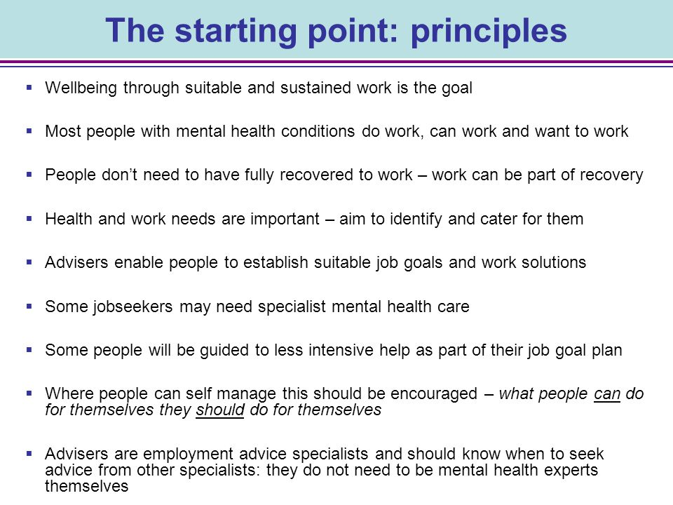 48 Individual Need statement (described in outcome terms) Specific Actions (to address the need) TimescaleWhoAchievedPart Achieved OngoingNot Completed Action Plan Example Employment/trial Goal: Wellbeing Goal: Why I can achieve this goal: Why I need to address: What do I need to prepare for employment: What I need to do: Employment Action Plan Name: Adviser: Plan Date: Review Date: This illustrates an integrated action plan for employment and wellbeing needs