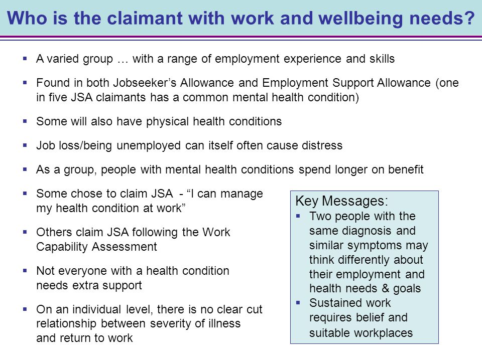 39 Section 5 Working for Wellbeing in employment Finding the right support
