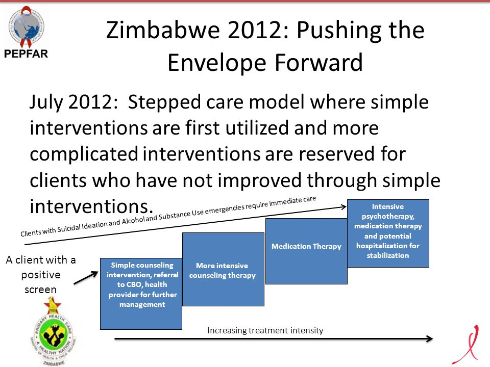Zimbabwe 2012: Pushing the Envelope Forward July 2012: Stepped care model where simple interventions are first utilized and more complicated interventions are reserved for clients who have not improved through simple interventions.