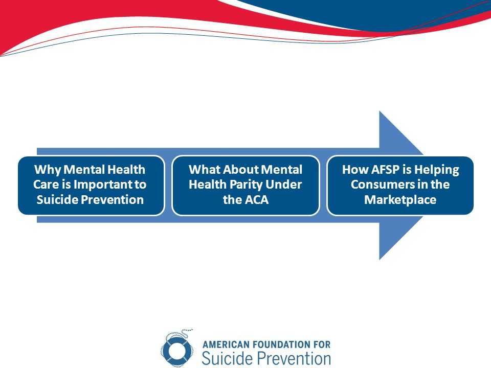 Why Mental Health Care is Important to Suicide Prevention What About Mental Health Parity Under the ACA How AFSP is Helping Consumers in the Marketplace