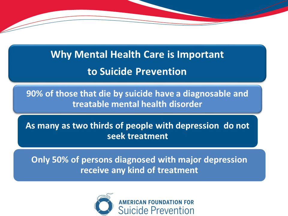 Why Mental Health Care is Important to Suicide Prevention 90% of those that die by suicide have a diagnosable and treatable mental health disorder As many as two thirds of people with depression do not seek treatment Only 50% of persons diagnosed with major depression receive any kind of treatment
