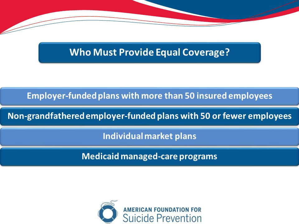 Employer-funded plans with more than 50 insured employeesNon-grandfathered employer-funded plans with 50 or fewer employeesIndividual market plansMedicaid managed-care programs Who Must Provide Equal Coverage
