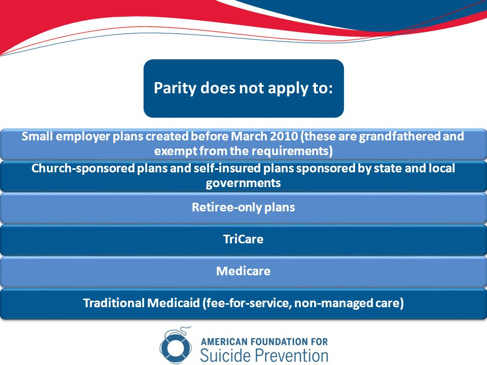 Small employer plans created before March 2010 (these are grandfathered and exempt from the requirements) Church-sponsored plans and self-insured plans sponsored by state and local governments Retiree-only plansTriCareMedicareTraditional Medicaid (fee-for-service, non-managed care) Parity does not apply to: