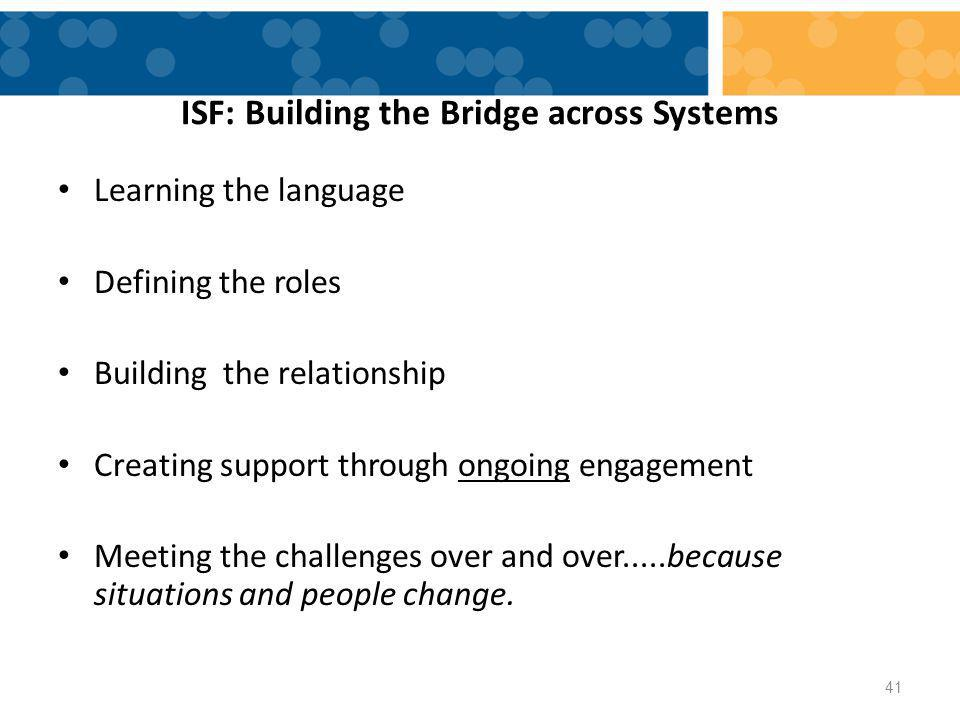 ISF: Building the Bridge across Systems Learning the language Defining the roles Building the relationship Creating support through ongoing engagement Meeting the challenges over and over.....because situations and people change.