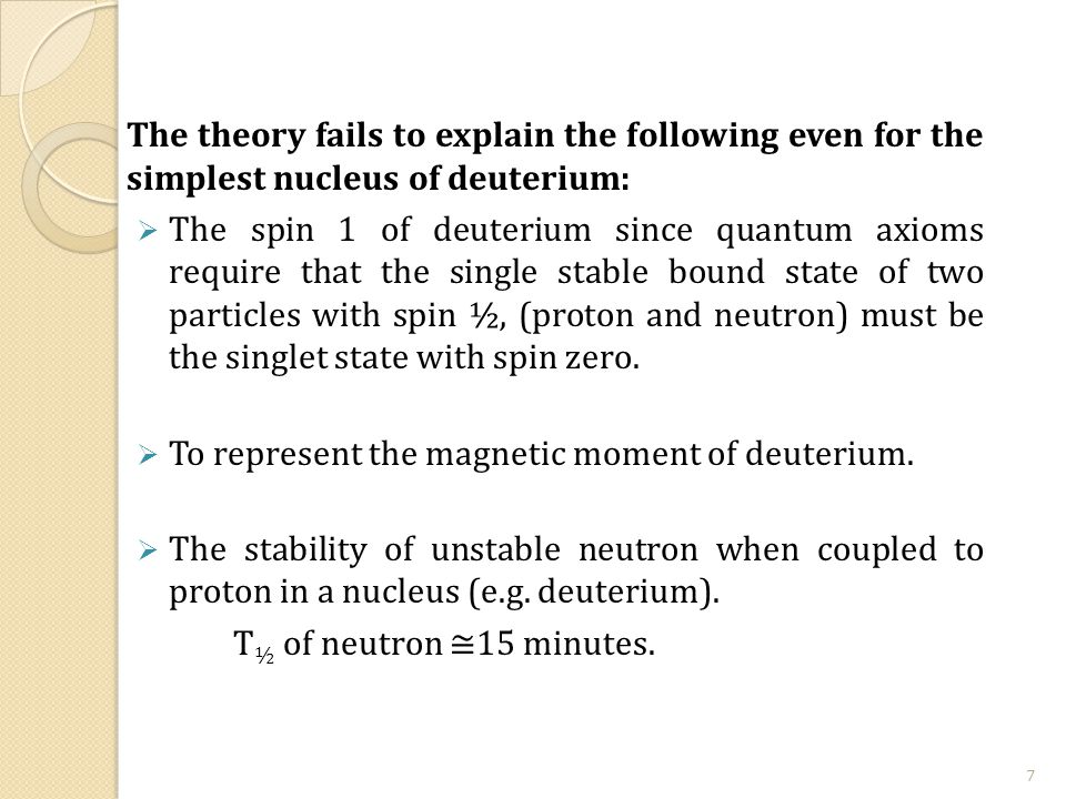 The theory fails to explain the following even for the simplest nucleus of deuterium:  The spin 1 of deuterium since quantum axioms require that the single stable bound state of two particles with spin ½, (proton and neutron) must be the singlet state with spin zero.