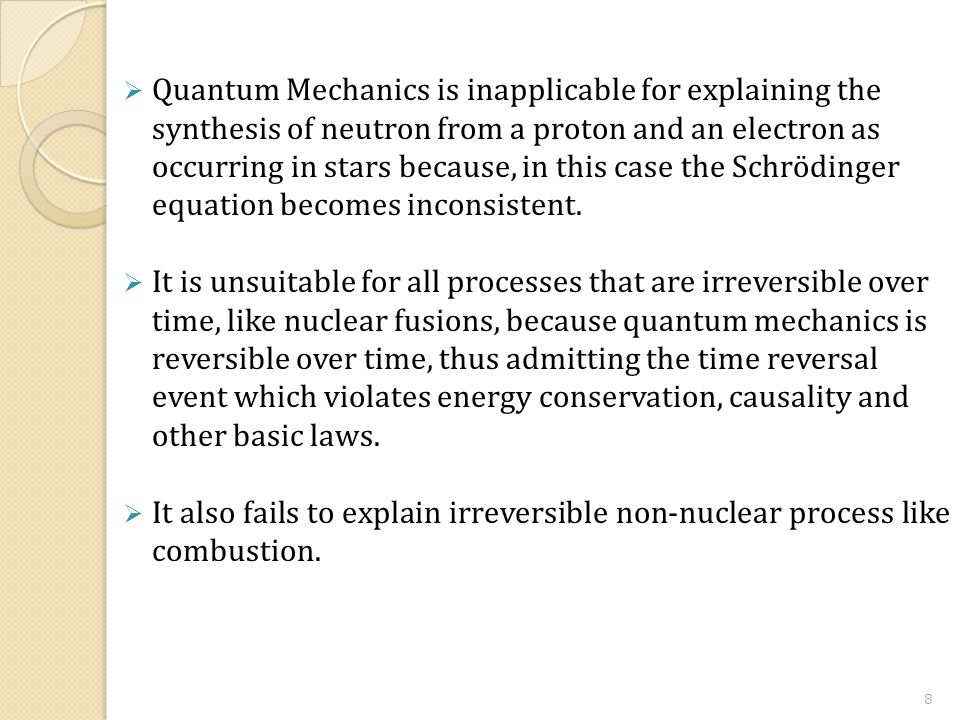  Quantum Mechanics is inapplicable for explaining the synthesis of neutron from a proton and an electron as occurring in stars because, in this case the Schrödinger equation becomes inconsistent.