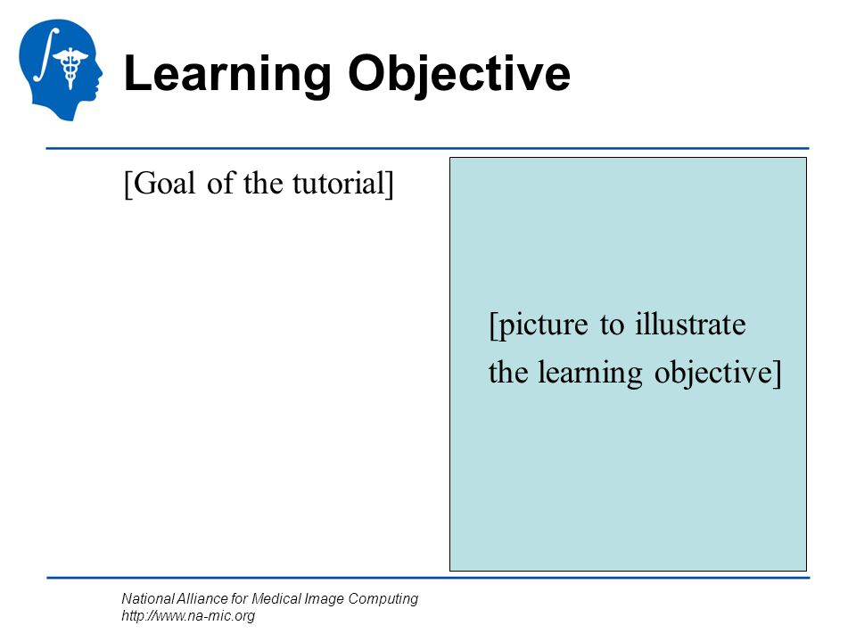 National Alliance for Medical Image Computing http://www.na-mic.org Learning Objective [Goal of the tutorial] [picture to illustrate the learning obje