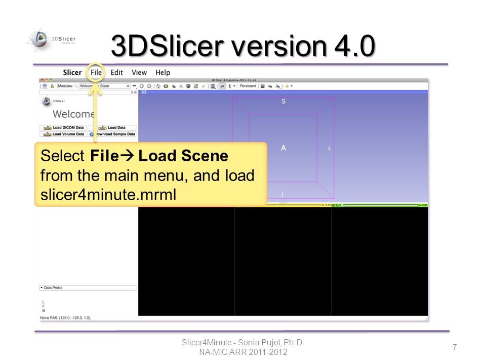 3DSlicer version 4.0 Select File  Load Scene from the main menu, and load slicer4minute.mrml Slicer4Minute - Sonia Pujol, Ph.D.
