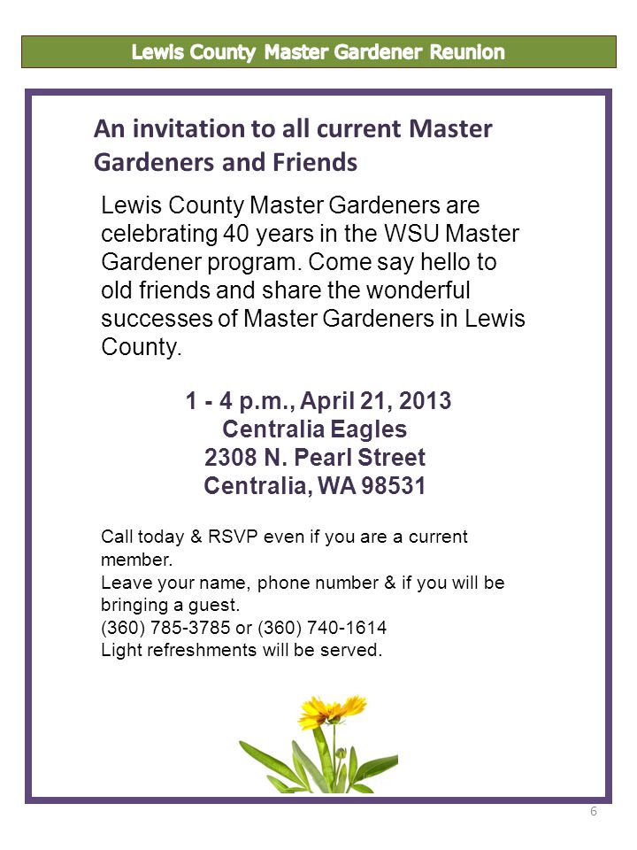 6 Lewis County Master Gardeners are celebrating 40 years in the WSU Master Gardener program.