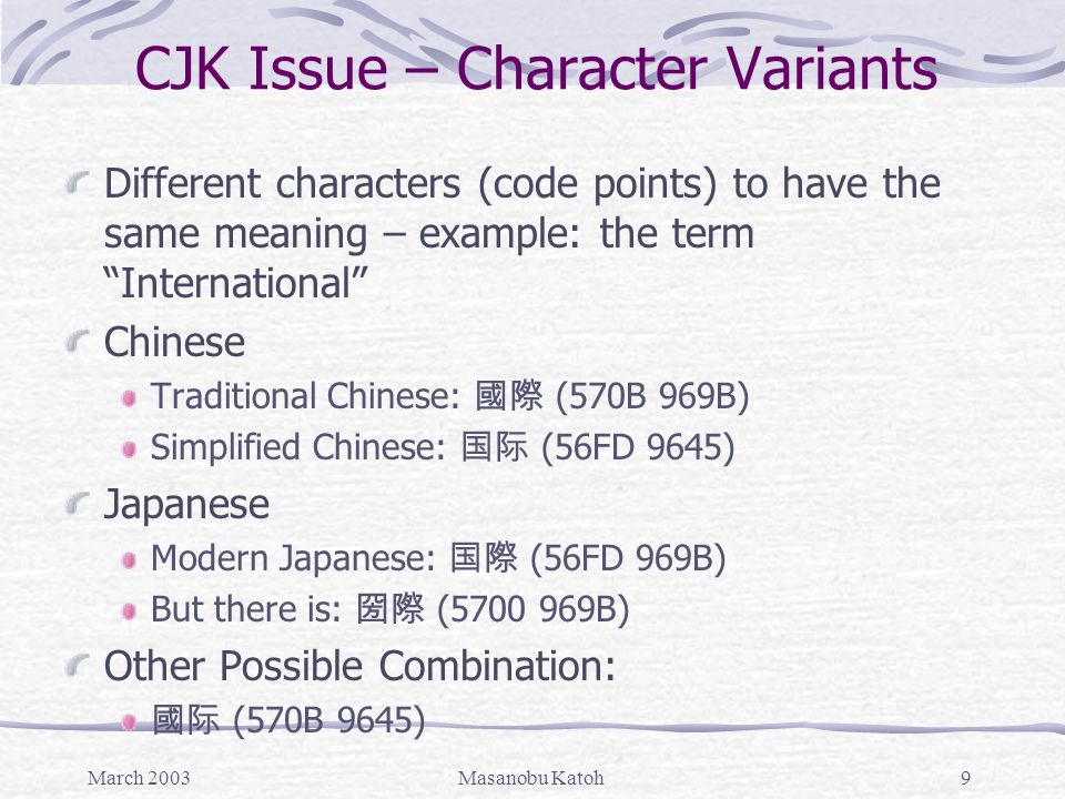 March 2003Masanobu Katoh9 CJK Issue – Character Variants Different characters (code points) to have the same meaning – example: the term International Chinese Traditional Chinese: 國際 (570B 969B) Simplified Chinese: 国际 (56FD 9645) Japanese Modern Japanese: 国際 (56FD 969B) But there is: 圀際 (5700 969B) Other Possible Combination: 國际 (570B 9645)