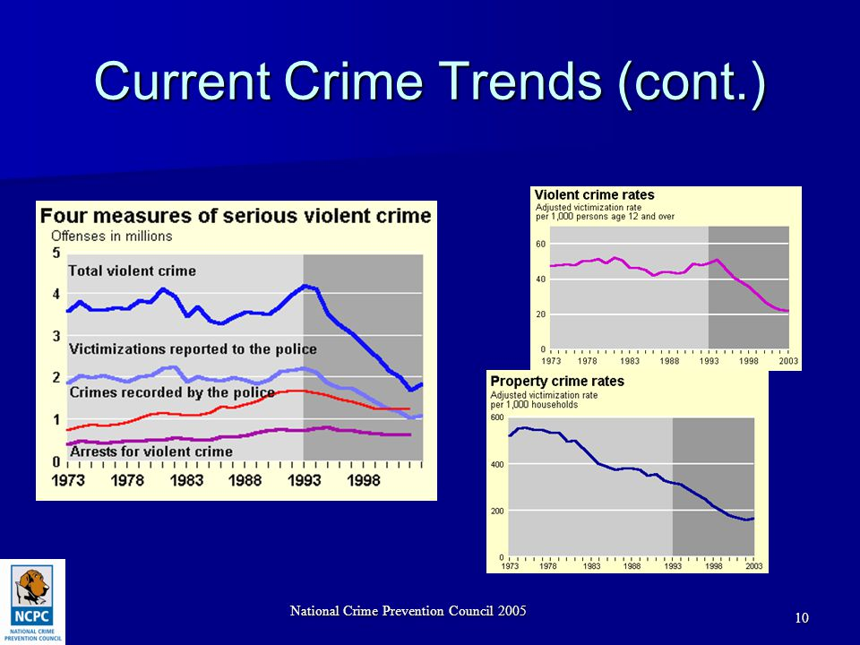 National Crime Prevention Council 2005 10 Current Crime Trends (cont.)