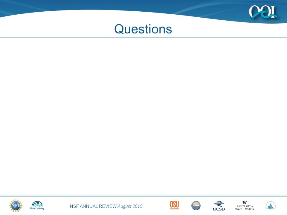 NSF ANNUAL REVIEW August 2010 Questions