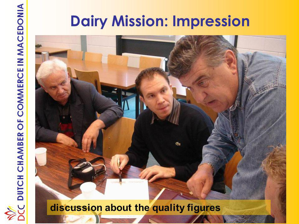 DUTCH CHAMBER OF COMMERCE IN MACEDONIA Dairy Mission: Impression discussion about the quality figures