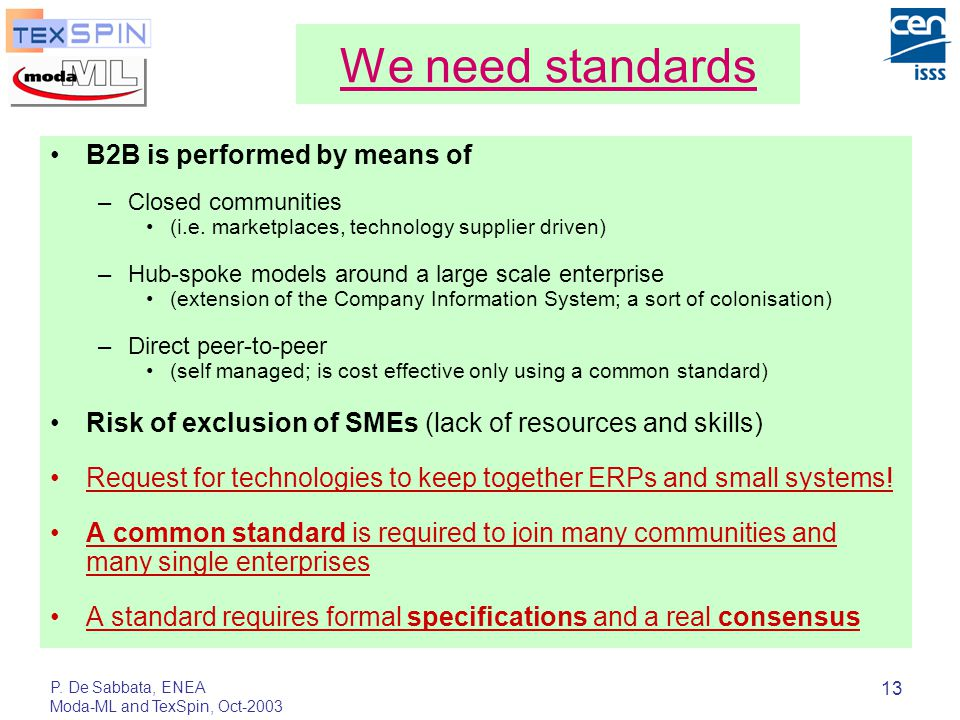 P. De Sabbata, ENEA Moda-ML and TexSpin, Oct-2003 13 We need standards B2B is performed by means of –Closed communities (i.e. marketplaces, technology