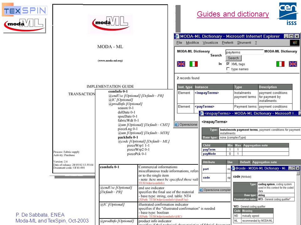 P. De Sabbata, ENEA Moda-ML and TexSpin, Oct-2003 23 Guides and dictionary