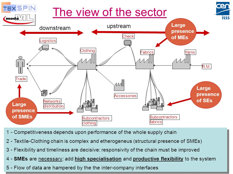 P. De Sabbata, ENEA Moda-ML and TexSpin, Oct-2003 4 The view of the sector Logistics Networks distribution Trade Clothing Check Fabrics Subcontractors