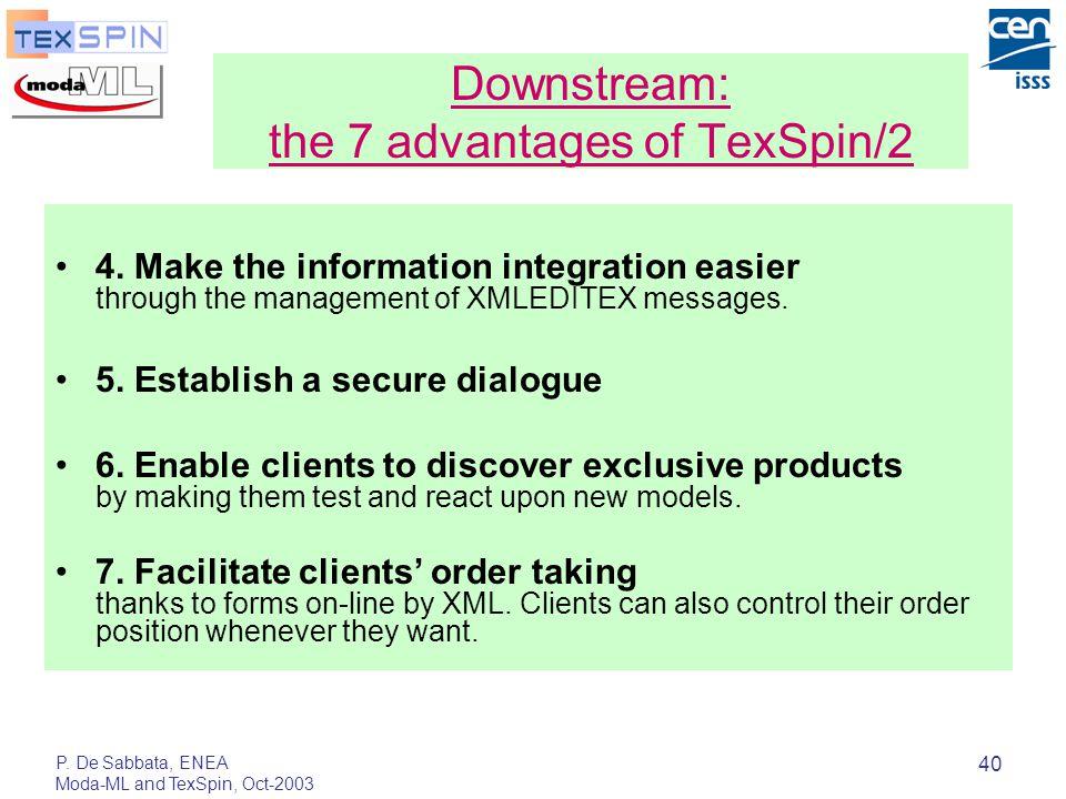 P. De Sabbata, ENEA Moda-ML and TexSpin, Oct-2003 40 4. Make the information integration easier through the management of XMLEDITEX messages. 5. Estab