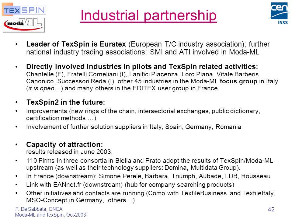 P. De Sabbata, ENEA Moda-ML and TexSpin, Oct-2003 42 Industrial partnership Leader of TexSpin is Euratex (European T/C industry association); further