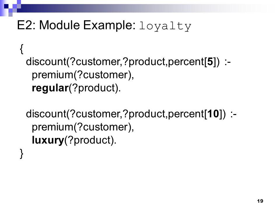 19 E2: Module Example: loyalty { discount( customer, product,percent[5]) :- premium( customer), regular( product).