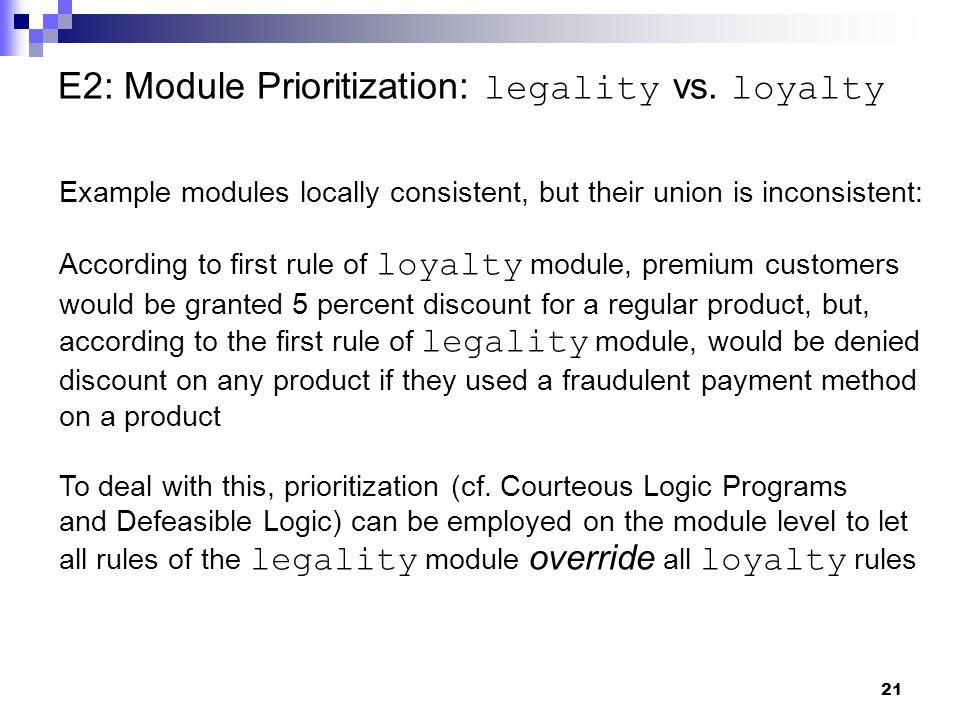 21 E2: Module Prioritization: legality vs.