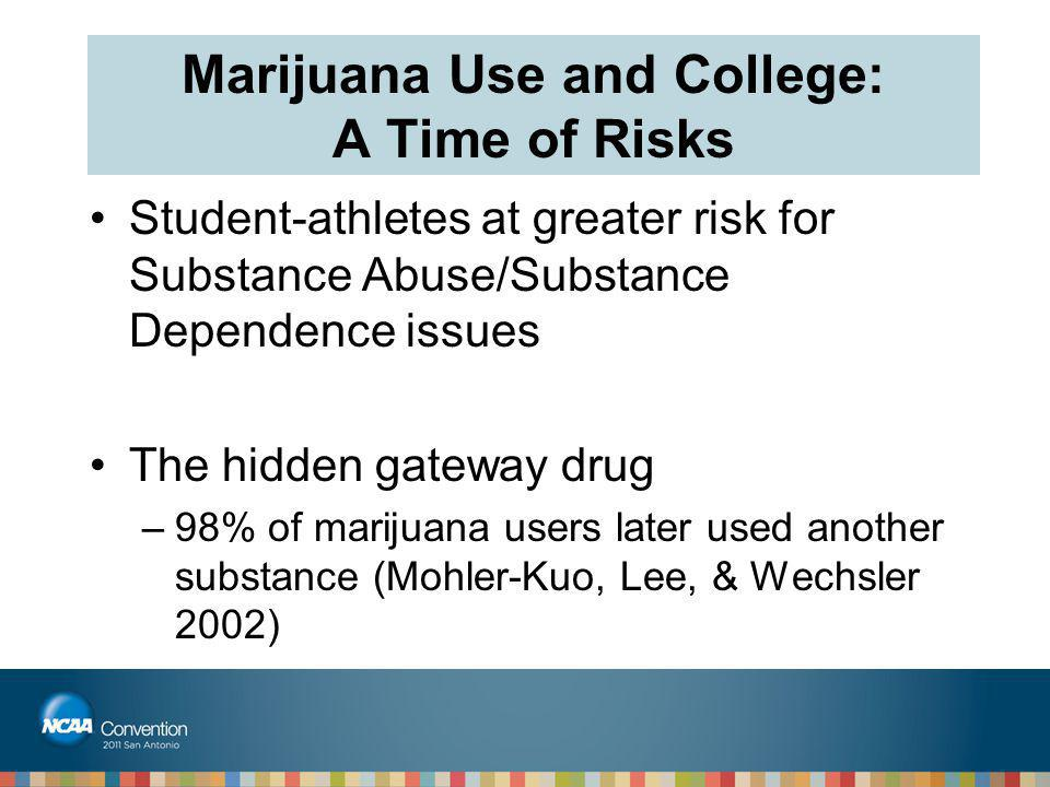 Marijuana Use and College: A Time of Risks Student-athletes at greater risk for Substance Abuse/Substance Dependence issues The hidden gateway drug –9