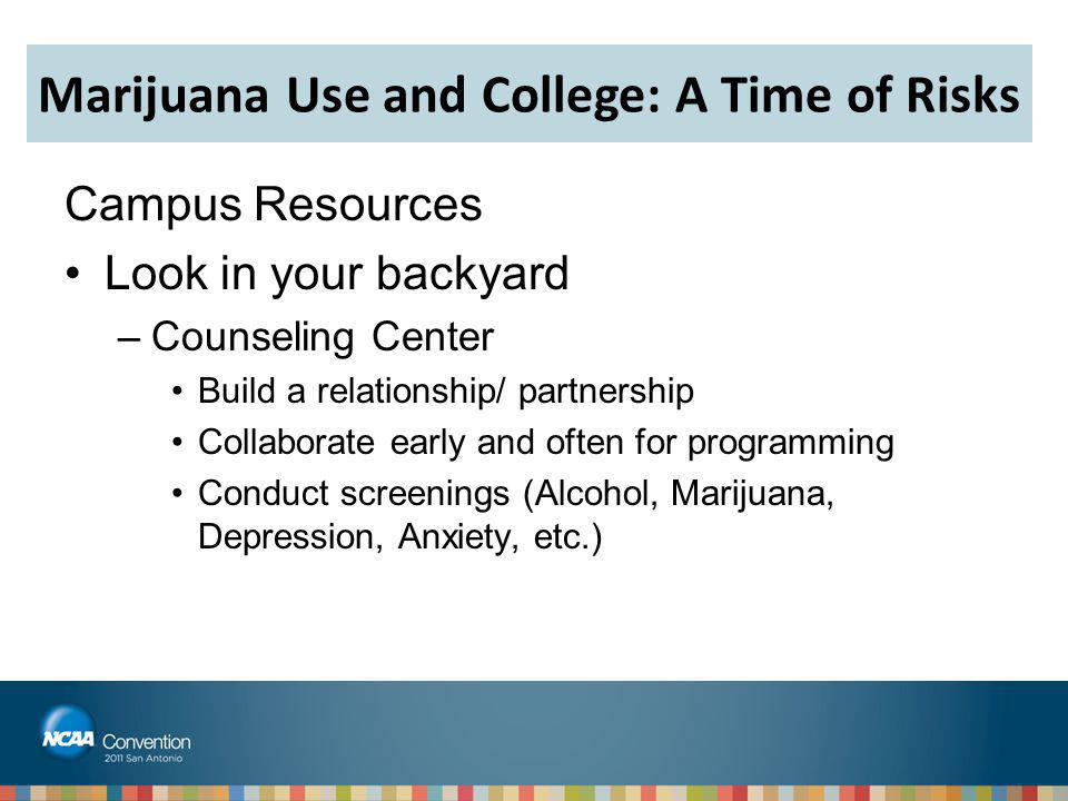 Campus Resources Look in your backyard –Counseling Center Build a relationship/ partnership Collaborate early and often for programming Conduct screen