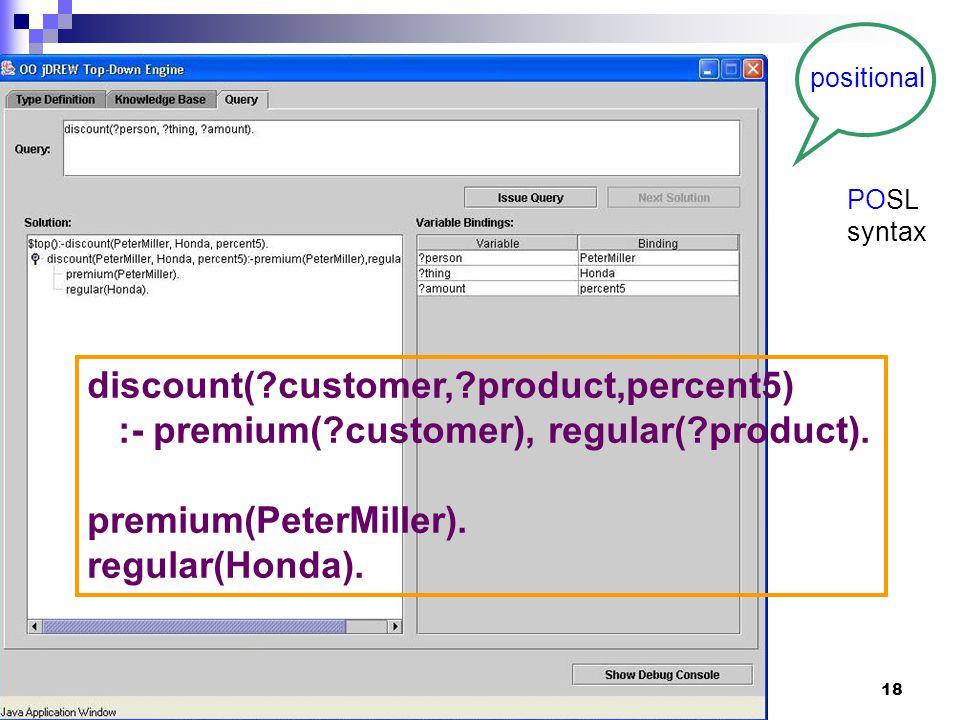 18 discount( customer, product,percent5) :- premium( customer), regular( product).