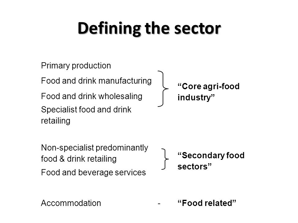 Defining the sector Primary production Core agri-food industry Food and drink manufacturing Food and drink wholesaling Specialist food and drink retailing Non-specialist predominantly food & drink retailing Secondary food sectors Food and beverage services Accommodation- Food related