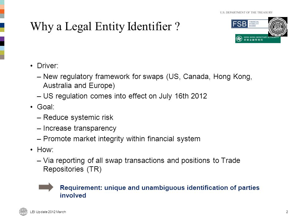 Why a Legal Entity Identifier .