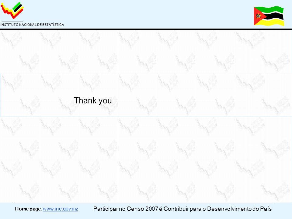 Home page: www.ine.gov.mz INSTITUTO NACIONAL DE ESTATÍSTICA Thank you Participar no Censo 2007 é Contribuir para o Desenvolvimento do País
