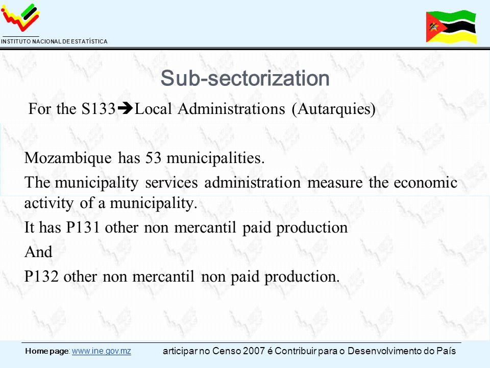 Home page: www.ine.gov.mz INSTITUTO NACIONAL DE ESTATÍSTICA Sub-sectorization For the S133  Local Administrations (Autarquies) Mozambique has 53 municipalities.