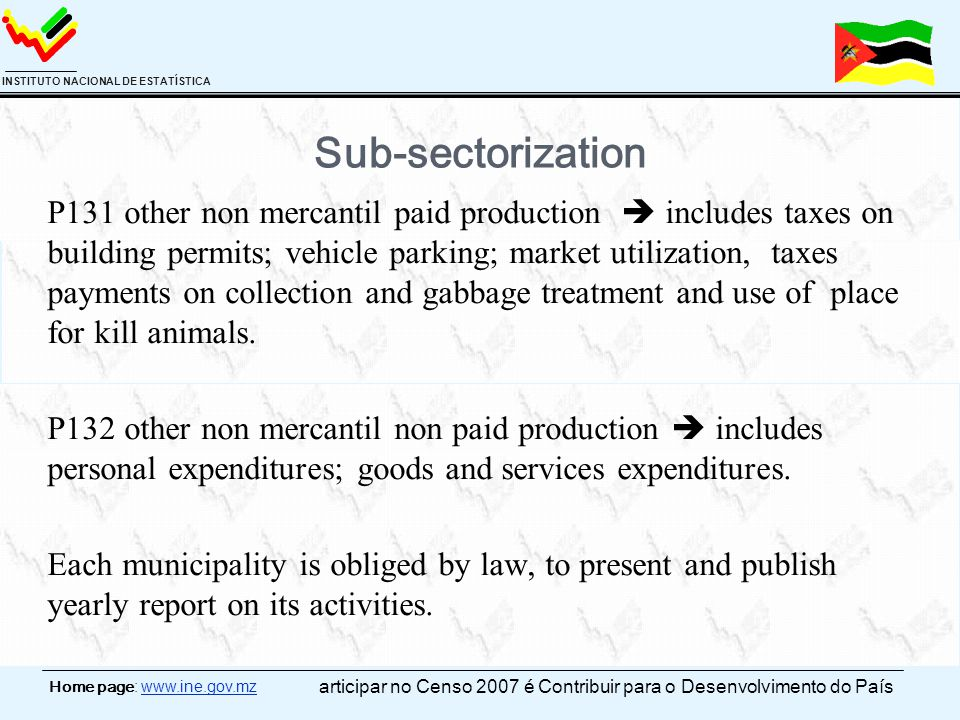 Home page: www.ine.gov.mz INSTITUTO NACIONAL DE ESTATÍSTICA Sub-sectorization P131 other non mercantil paid production  includes taxes on building pe