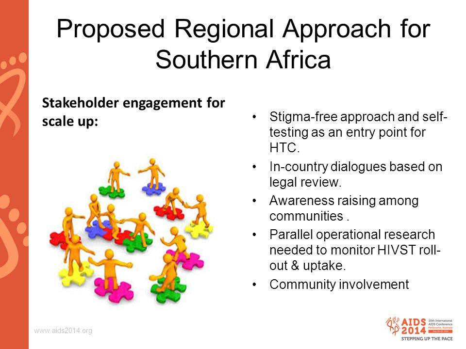 www.aids2014.org Proposed Regional Approach for Southern Africa Stigma-free approach and self- testing as an entry point for HTC.