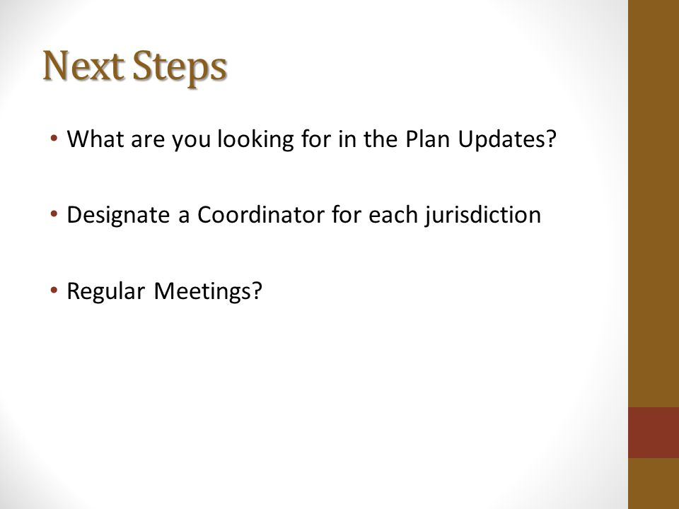 Next Steps What are you looking for in the Plan Updates.