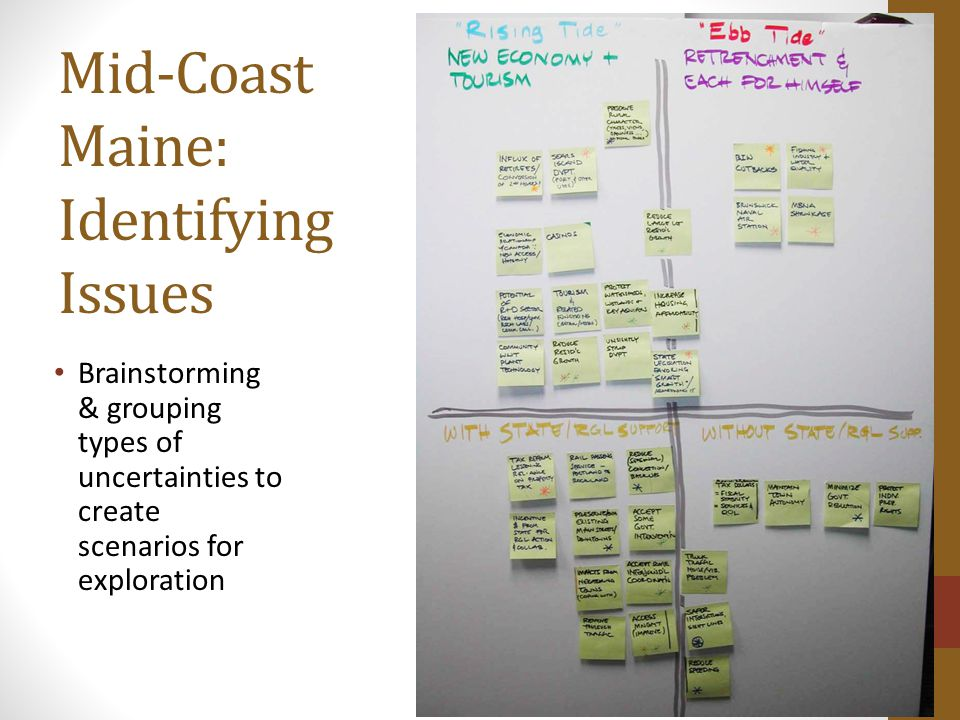 Mid-Coast Maine: Identifying Issues Brainstorming & grouping types of uncertainties to create scenarios for exploration