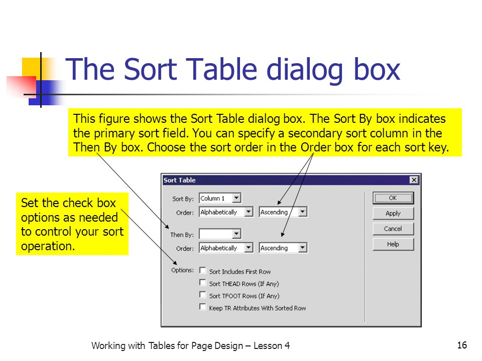16 Working with Tables for Page Design – Lesson 4 The Sort Table dialog box This figure shows the Sort Table dialog box. The Sort By box indicates the