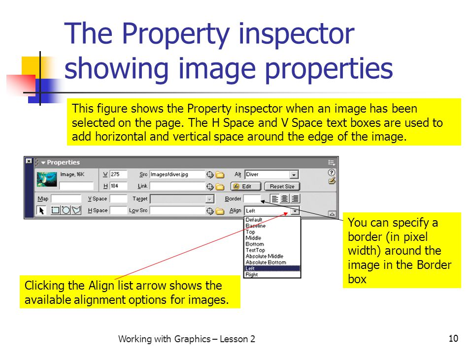 10 Working with Graphics – Lesson 2 The Property inspector showing image properties This figure shows the Property inspector when an image has been se