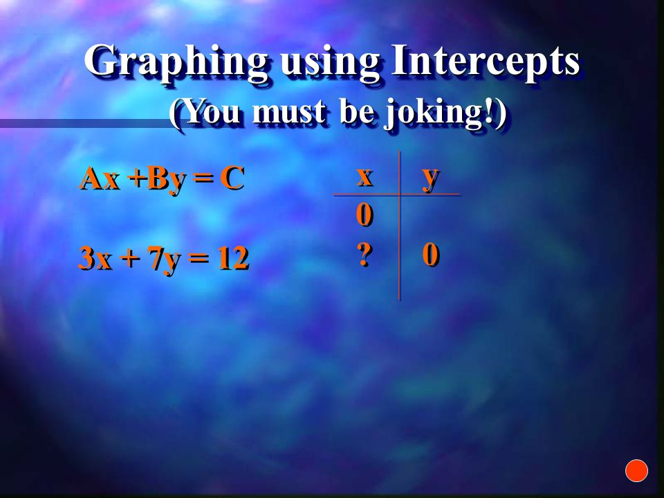 Ax +By = C 3x + 7y = 12 Ax +By = C 3x + 7y = 12 Graphing using Intercepts xy0 0xy0 0 xy0 0xy0 0 (You must be joking!)