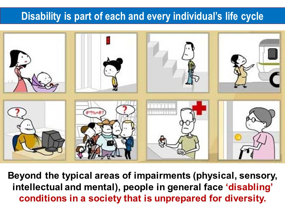 Beyond the typical areas of impairments (physical, sensory, intellectual and mental), people in general face 'disabling' conditions in a society that