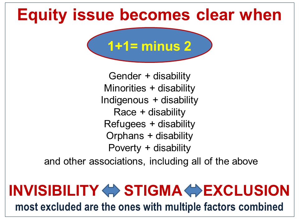 Equity issue becomes clear when 1+1= minus 2 Gender + disability Minorities + disability Indigenous + disability Race + disability Refugees + disabili