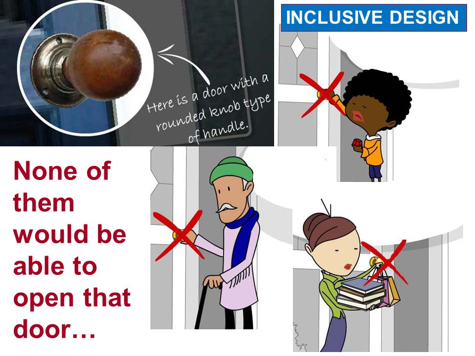 None of them would be able to open that door… INCLUSIVE DESIGN