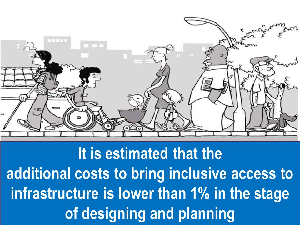 It is estimated that the additional costs to bring inclusive access to infrastructure is lower than 1% in the stage of designing and planning