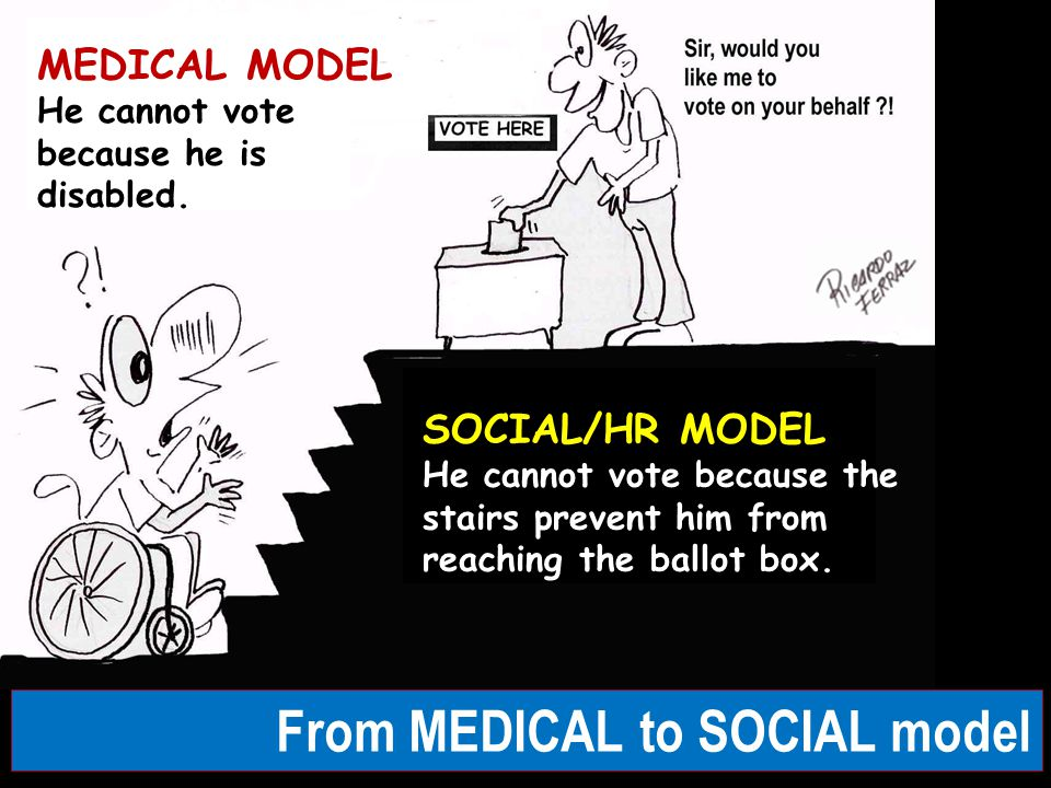 From MEDICAL to SOCIAL model SOCIAL/HR MODEL He cannot vote because the stairs prevent him from reaching the ballot box. MEDICAL MODEL He cannot vote
