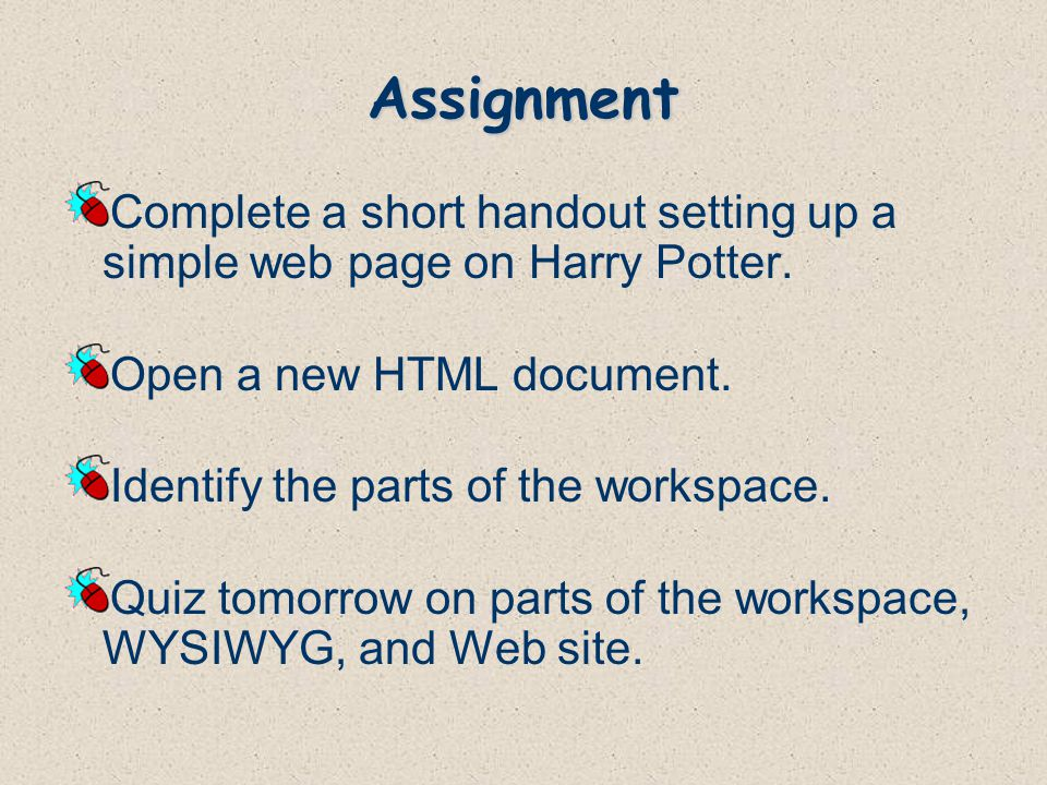 Assignment Complete a short handout setting up a simple web page on Harry Potter.