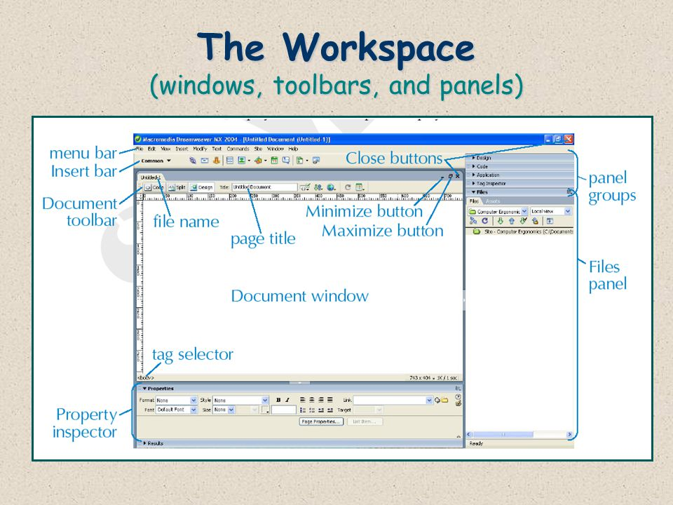 The Workspace (windows, toolbars, and panels)