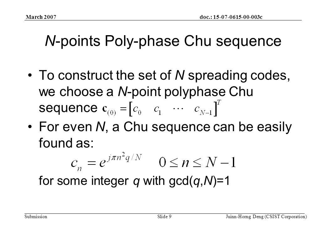 doc.: 15-07-0615-00-003c Submission March 2007 Juinn-Horng Deng (CSIST Corporation)Slide 30 Simulation Results h=[0.8 0.2+0.4j zeros(1,3) 0.1+0.1j]